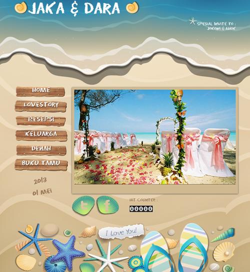 tema undangan beach