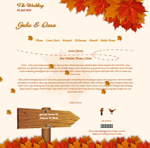 Tema undangan online autumn: undangan dengan design daun berguguran