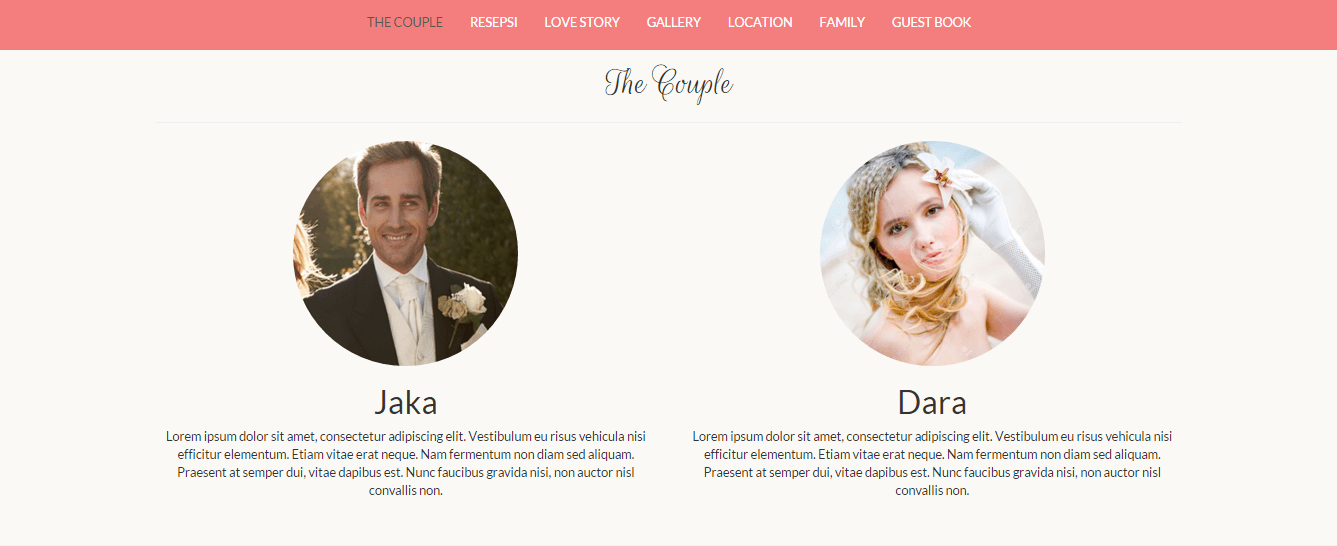 Desain undangan online Matrimony datangya - the couple