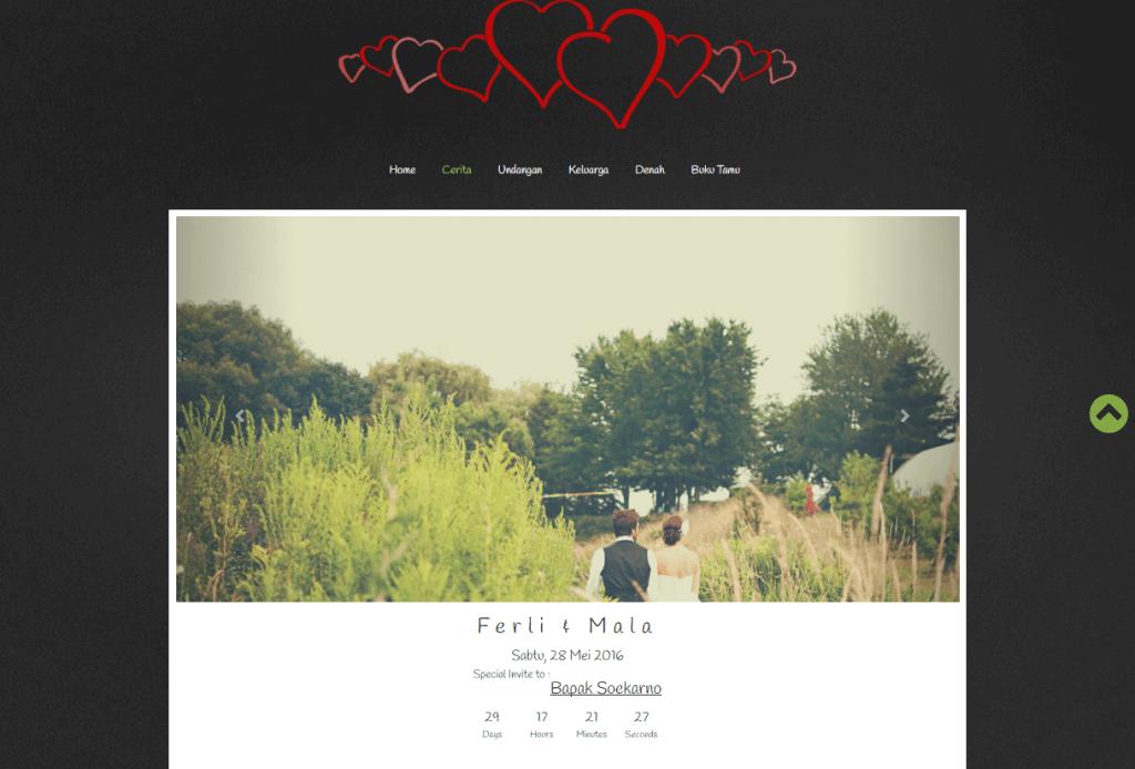 desain undangan pernikahan online one page black - home